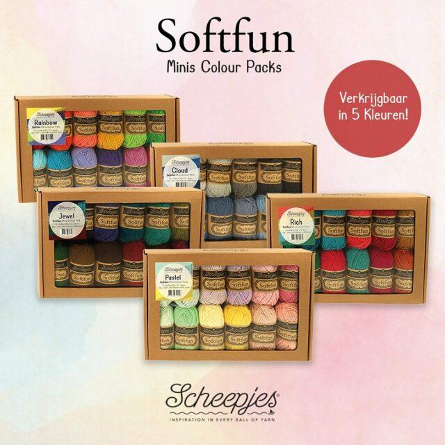🌸💎🌈⛅️🎁⛅️🌈💎🌸 🌈 NIEUW: Softfun Minis Colour Packs 🌈 Elke Colour Pack bevat 12 x 20 gram 'Cutie Pie' bolletjes. Beschikbaar in 5 kleurstellingen: 🌸 Pastel 💎 Jewel 🌈 Rainbow ⛅️ Cloud 🎁 Rich https://atelier9a.be/product-categorie/5-pakketten/wolpakket/ #atelier9a #wolwinkel #woolshop #scheepjes #hakenisleuk #breienisleuk #scheepjessoftfun #colour