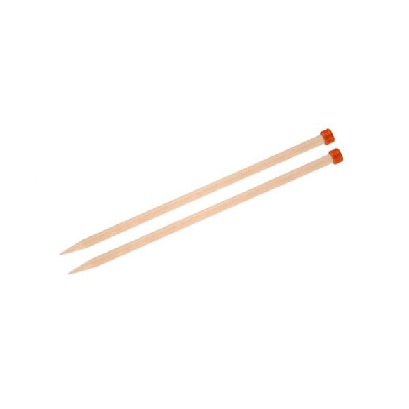 KnitPro Basix Birch breinaalden met knop 40 cm - 15mm