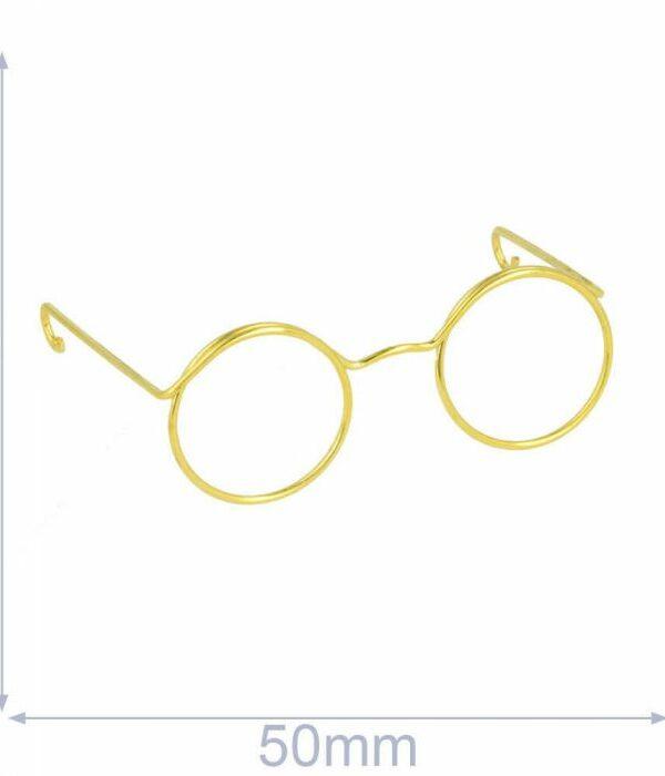 Bril voor knuffels metaal 5cm goud