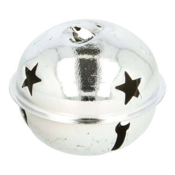 Belletjes met sterren 48 mm - zilver