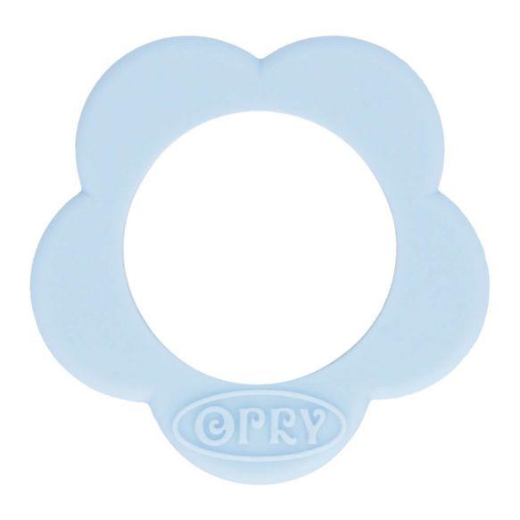 Opry Siliconen bijtring bloem 40mm - blauw