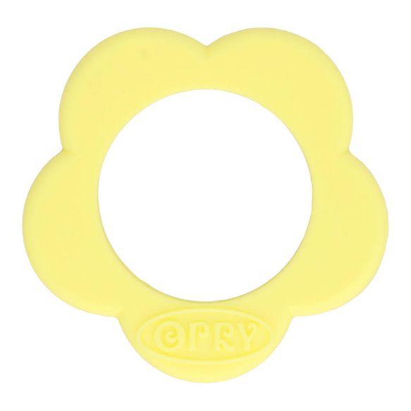 Opry Siliconen bijtring bloem 40mm - geel