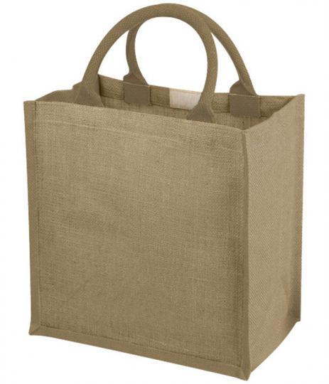 compacte jute tas met katoenen grepen 30 x 19 x 30 cm - naturel
