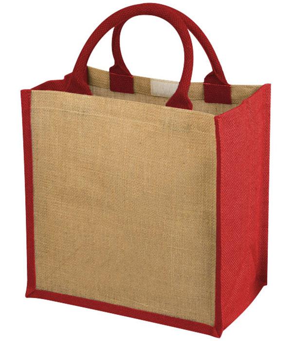 compacte jute tas met katoenen grepen 30 x 19 x 30 cm - rood