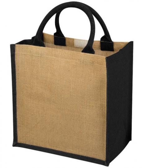 compacte jute tas met katoenen grepen 30 x 19 x 30 cm - zwart