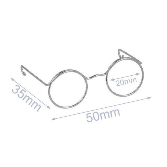 Bril voor knuffels metaal 5cm nickel